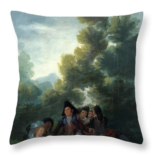Francisco Goya Throw Pillow featuring the painting A Picnic by Francisco Goya