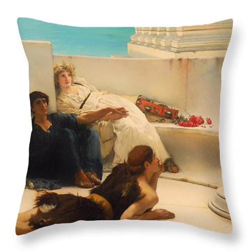 Lawrence Alma-tadema Throw Pillow featuring the painting A Reading From Homer by Lawrence Alma-Tadema