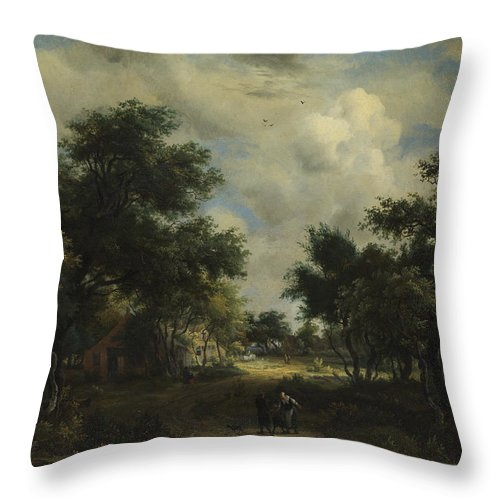 Meindert Hobbema Throw Pillow featuring the painting A Road Winding Past Cottages by Meindert Hobbema