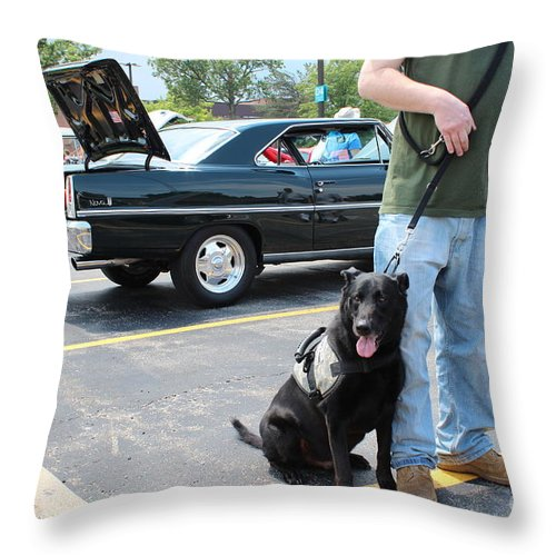 K-9 Prints Throw Pillow featuring the photograph A War Hero's Service K9 by R A W M