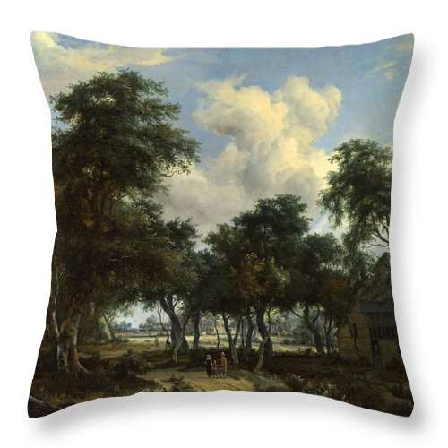 Meindert Hobbema Throw Pillow featuring the painting A Woody Landscape With A Cottage by Meindert Hobbema