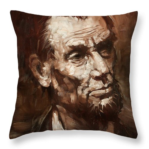 Abraham Lincoln Throw Pillow featuring the painting Abraham Lincoln 2 by Ylli Haruni