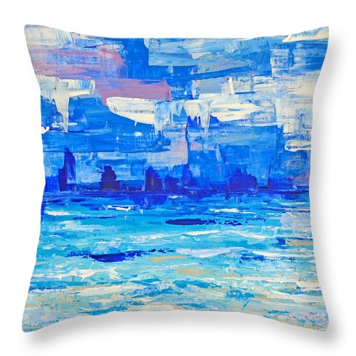 Abstract Throw Pillow featuring the painting Abstract Beach by Paola Correa de Albury