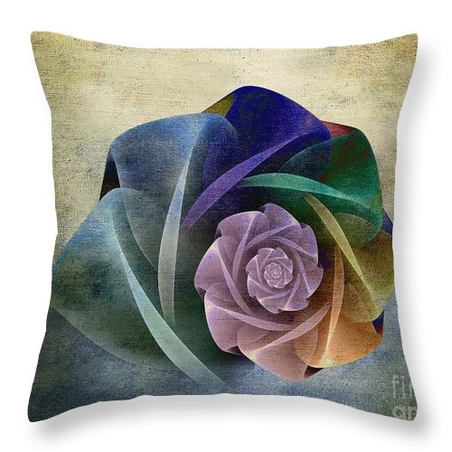 Abstract Throw Pillow featuring the digital art Abstract Rose by Klara Acel
