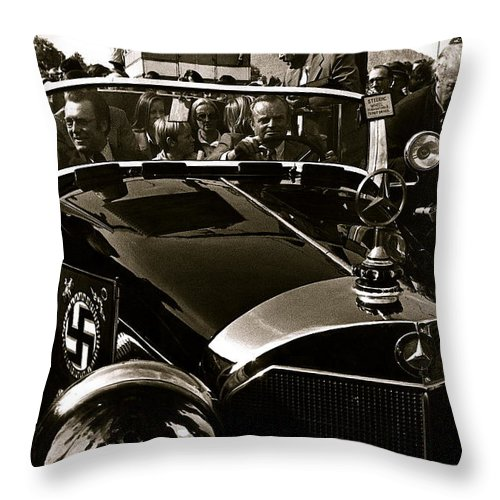 Adolf Hitler's 1941 Mercedes-benz 770-k Touring Car Sold At Auction Scottsdale Arizona 1973 Throw Pillow featuring the photograph Adolf Hitler's 1941 Mercedes-benz 770-k Touring Car Sold At Auction Scottsdale Arizona 1973 by David Lee Guss