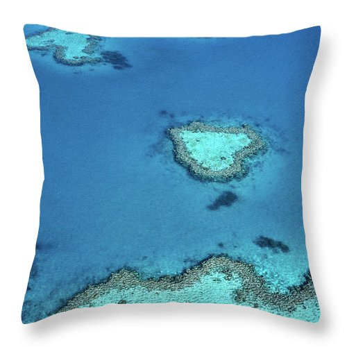 Scenics Throw Pillow featuring the photograph Aerial Of Heart-shaped Reef At Hardy by Holger Leue