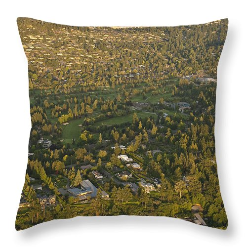Bellevue Skyline Throw Pillow featuring the photograph Aerial View Of Bellevue Skyline by Jim Corwin