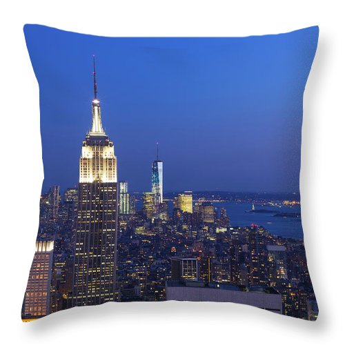 Tranquility Throw Pillow featuring the photograph Aerial View Of Empire State And Midtown by Future Light