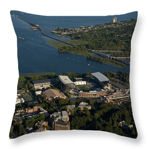 Bellevue Skyline Throw Pillow featuring the photograph Aerial View Of The New Husky Stadium by Jim Corwin