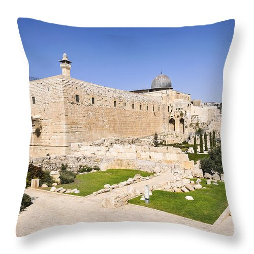 Israel Throw Pillow featuring the photograph Al-aqsa Mosque Temple Mount by Shay Levy