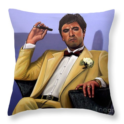 Al Pacino Throw Pillow featuring the painting Al Pacino by Paul Meijering