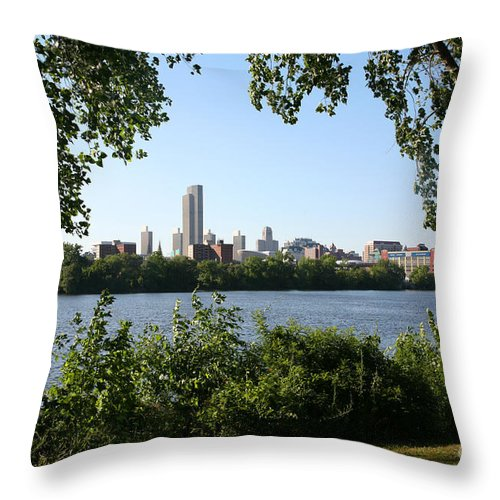 Empire State Plaza Throw Pillow featuring the photograph Albany Skyline by Bill Cobb