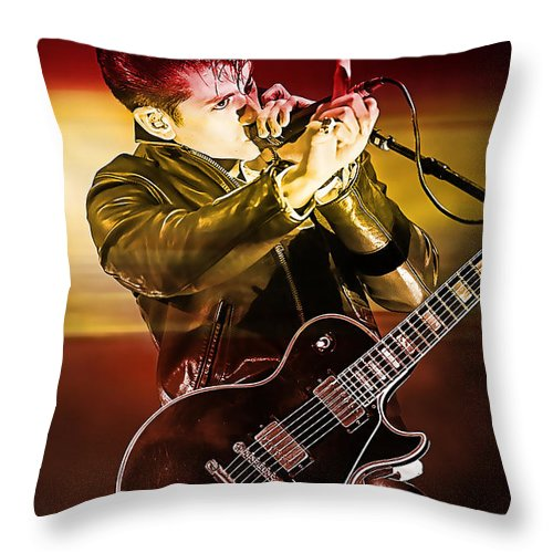 Arctic Monkeys Photographs Throw Pillow featuring the mixed media Alex Turner by Marvin Blaine
