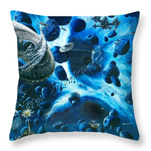 Asteroid Throw Pillow featuring the painting Alien Pirates by Murphy Elliott