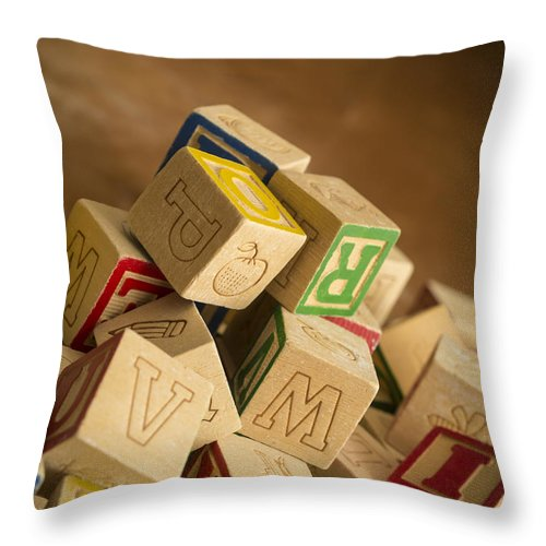 Toy Throw Pillow featuring the photograph Alphabet Blocks by Edward Fielding