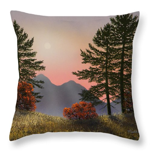 Mountains Throw Pillow featuring the painting Alpine View by Frank Wilson