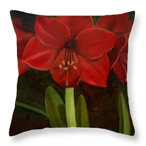 Amaryllis Throw Pillow featuring the painting Amaryllis by Nancy Griswold