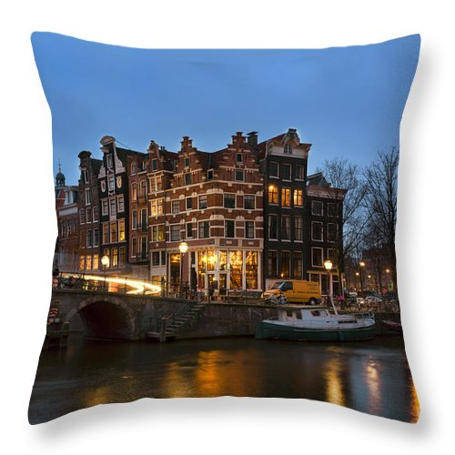 Amsterdam Corner Cafe Throw Pillow featuring the photograph Amsterdam Corner Cafe by Ann Garrett