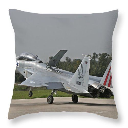 Aircraft Throw Pillow featuring the photograph An F-15b Baz Of The Israeli Air Force by Ofer Zidon