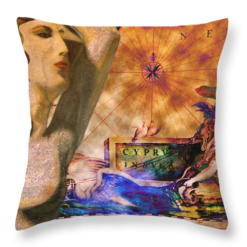 Augusta Stylianou Throw Pillow featuring the digital art Ancient Cyprus Map And Aphrodite by Augusta Stylianou