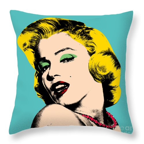 Pop Art Throw Pillow featuring the digital art Andy Warhol by Mark Ashkenazi