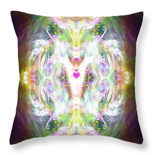 Angel Throw Pillow featuring the digital art Angel Of Positive Thoughts by Diana Haronis