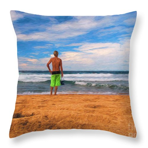 Surf Throw Pillow featuring the photograph Anticipation by Sheila Smart Fine Art Photography