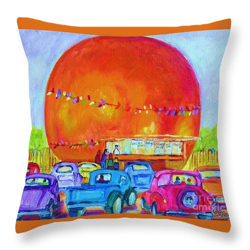 Cars Throw Pillow featuring the painting Antique Cars At The Julep by Carole Spandau