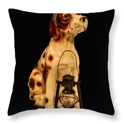 Antique Throw Pillow featuring the photograph Antique Dog W Lantern by Mechala Matthews