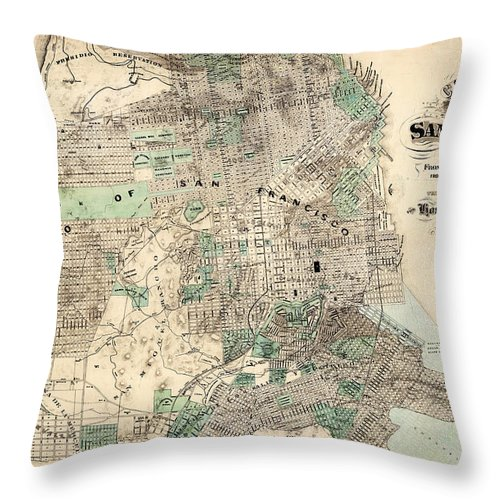 World Throw Pillow featuring the painting Antique Map Of City And County Of San Francisco by Celestial Images