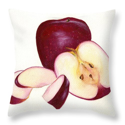 Apples Throw Pillow featuring the painting Apples To Apples by Nan Wright