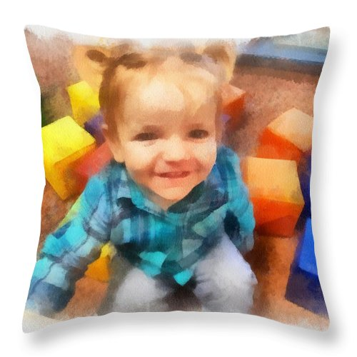 Digital Throw Pillow featuring the digital art Ashby And Her Blocks by Carol Sullivan