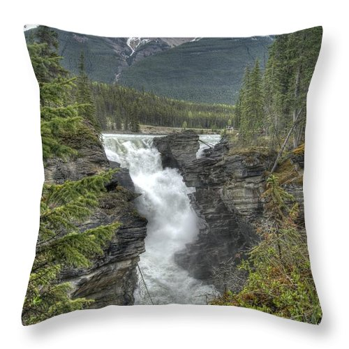 Athabasca Falls Throw Pillow featuring the photograph Athabasca Falls 2 by David Birchall