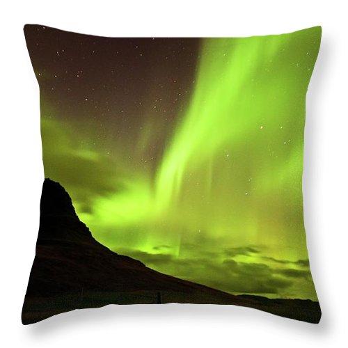 Scenics Throw Pillow featuring the photograph Aurora Borealis by Geinis
