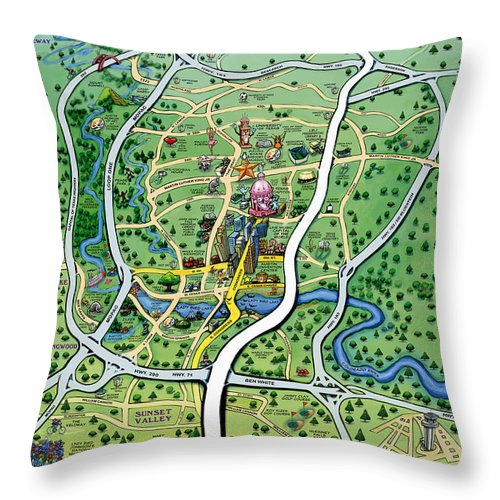 Austin Throw Pillow featuring the painting Austin Texas Cartoon Map by Kevin Middleton