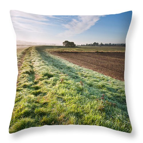 Landscape Throw Pillow featuring the photograph Autumn Dawn Landscape Over Frosty Misty Fields by Matthew Gibson