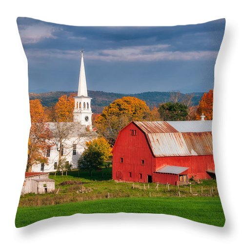 Church Throw Pillow featuring the photograph Autumn In Peacham by Michael Blanchette