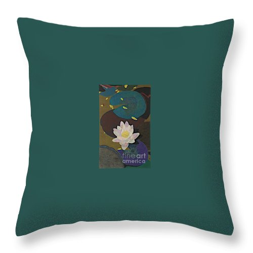 Landscape Throw Pillow featuring the painting Autumn Lily by Allan P Friedlander