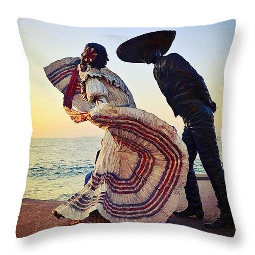 Bailarines De Vallarta Throw Pillow featuring the photograph 'bailarines De Vallarta' By Jim Demetro by Natasha Marco