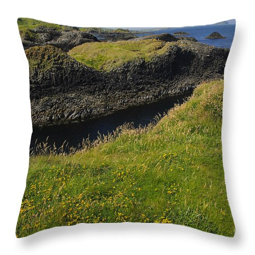 Ballintoy Throw Pillow featuring the photograph Ballintoy Harbor by John Shaw