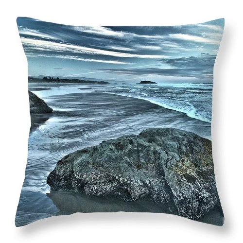 Bandon Beach Throw Pillow featuring the photograph Bandon Beach Swirls by Adam Jewell