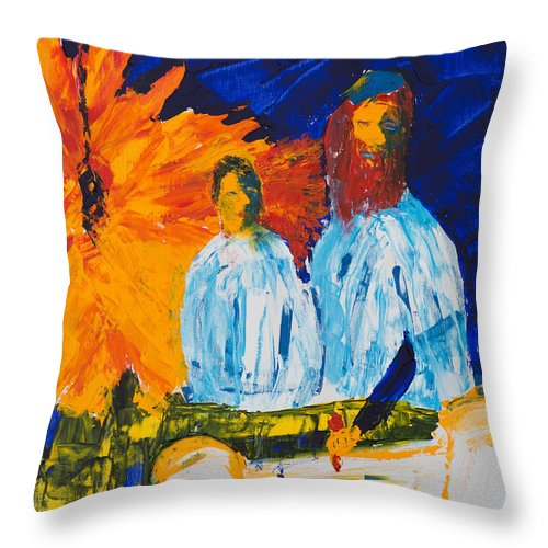 Jewish Art Throw Pillow featuring the painting Bar Mitzvah by Walt Brodis