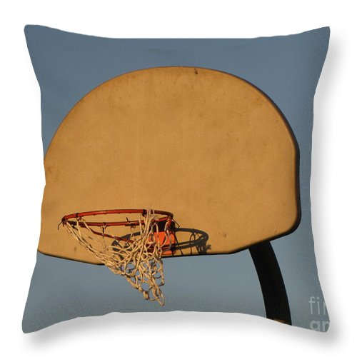Basketball Throw Pillow featuring the photograph Basketball Goal At Sandy Point by Ben Schumin