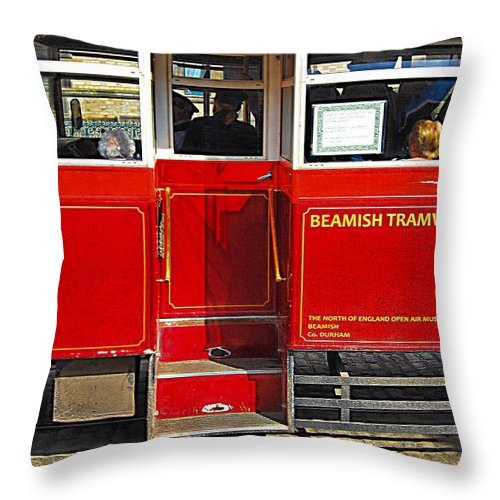 Age Of Steam Throw Pillow featuring the photograph Beamish Tramways by John Lynch