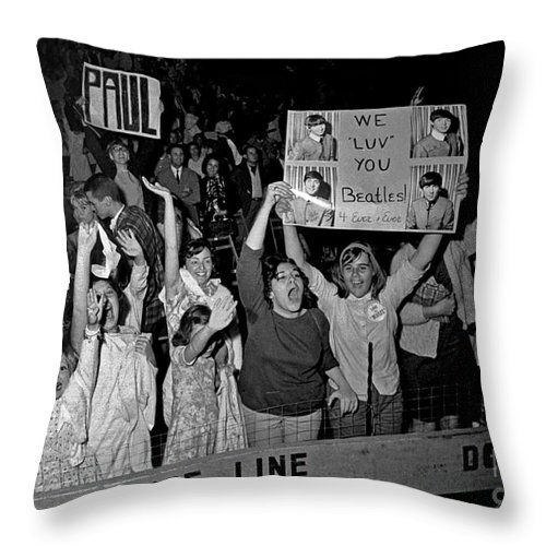 History Throw Pillow featuring the photograph Beatles Fans At Concert, 1964 by Larry Mulvehill
