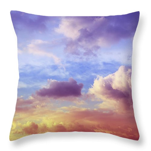 Scenics Throw Pillow featuring the photograph Beautiful Sunset Cloudscape by Blackred