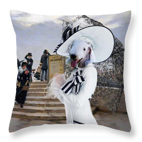 Bedlington Terrier Throw Pillow featuring the painting Bedlington Terrier Art Canvas Print by Sandra Sij
