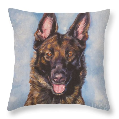 Belgian Malinois Throw Pillow featuring the painting Belgian Malinois by Lee Ann Shepard