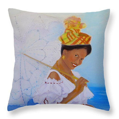 Caribbean Throw Pillow featuring the painting Belle Creole by KCatia Creole Art