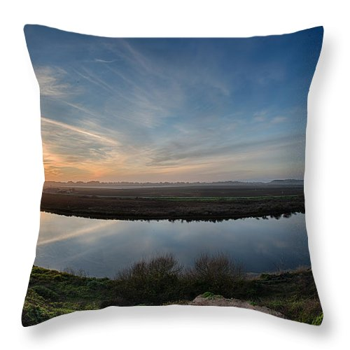 Central California Coast Throw Pillow featuring the photograph Bend In The River by Bill Roberts